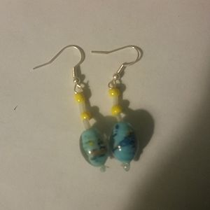 Jewelry - Blue and yellow bead earrings